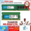 Barrette mémoire 8Go DDR4-2666 - Côte d'Ivoire
