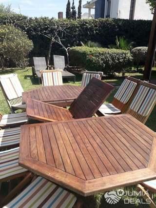 Table et chaises de jardin en bois massif teck   Casablanca  