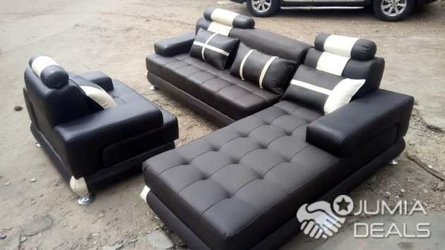 Complete set of L-shape leather sofa design