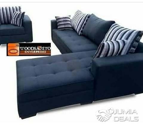 L-shape sofa design with a single seater