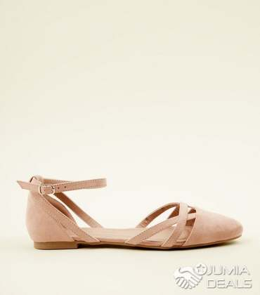 14fafbc66bf3a9 New Look Ankle Strap Cut-Out Ballerina Flat Shoes- Nude  size 38 ...