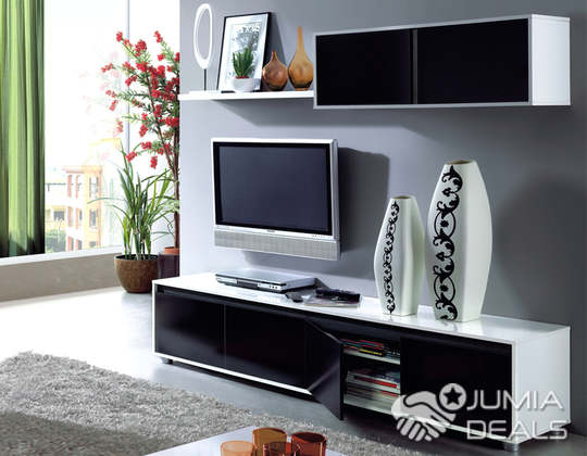 Meuble tv mural contemporain noir blanc 200 cm hann bel for Meuble tv bel air 2